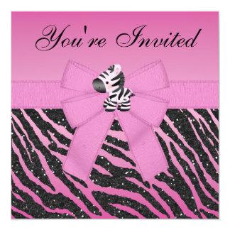 Cebra, mariposas y brillo rosados del estampado de invitación 13,3 cm x 13,3cm