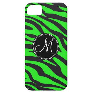 Cebra negra verde de neón inicial con monograma de iPhone 5 funda