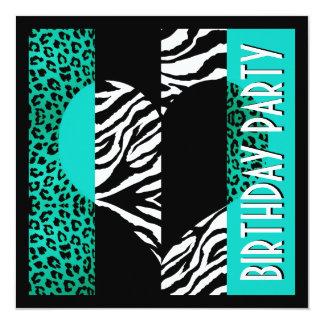 Cebra negra y blanca del leopardo azul de la invitación 13,3 cm x 13,3cm