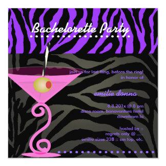Cebra púrpura/fiesta rosado de martini invitación 13,3 cm x 13,3cm