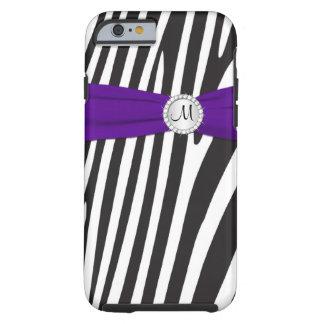 Cebra púrpura, negra, blanca con monograma rayada funda de iPhone 6 tough