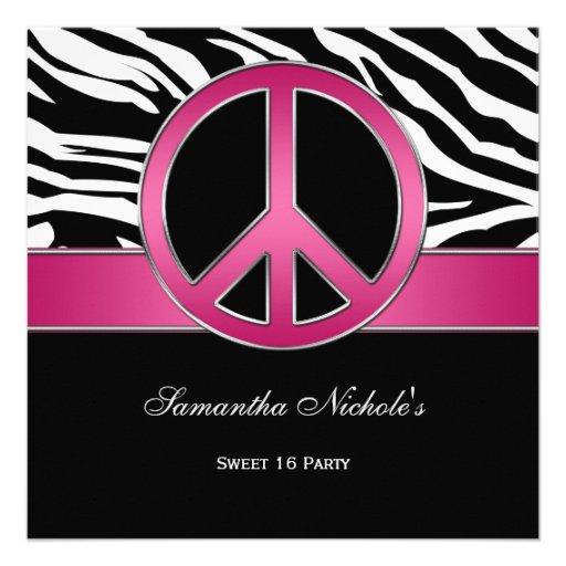 Cebra rosada del negro del signo de la paz del dul anuncios