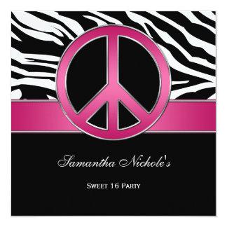 Cebra rosada del negro del signo de la paz del invitación 13,3 cm x 13,3cm