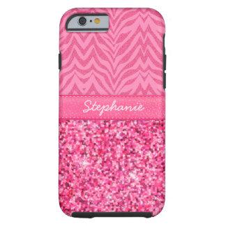 Cebra rosada glamorosa funda de iPhone 6 tough