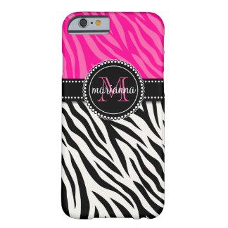 Cebra rosada negra femenina moderna personalizada funda de iPhone 6 barely there
