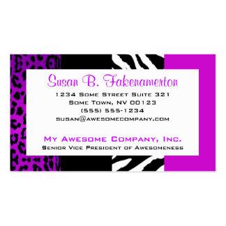 Cebra y leopardo púrpuras y negros del estampado tarjetas de visita