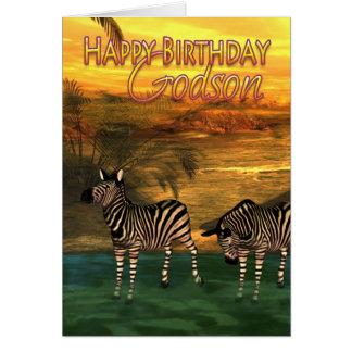 Cebras de la tarjeta de cumpleaños del ahijado en