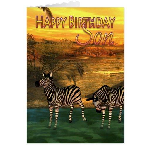 Cebras de la tarjeta de cumpleaños del hijo en agu