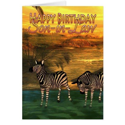 Cebras de la tarjeta de cumpleaños del yerno en ag