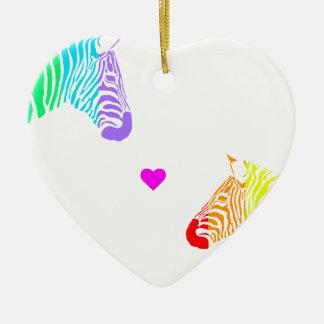 Cebras del arco iris adorno navideño de cerámica en forma de corazón