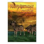 Cebras del primo del feliz cumpleaños en agua felicitaciones
