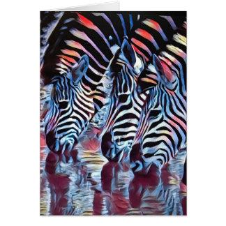 Cebras en el agujero de riego tarjeta de felicitación