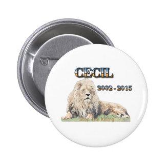 Cecil el león chapa redonda de 5 cm
