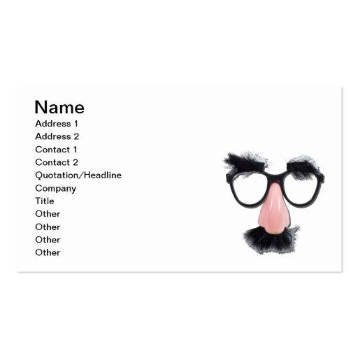 Cejas del bigote de los vidrios tarjeta de visita