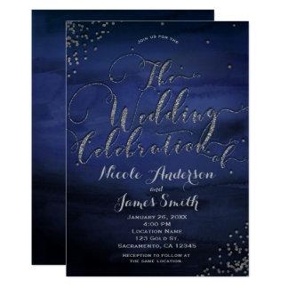 Celebración azul de la bodas de plata de la invitación 12,7 x 17,8 cm