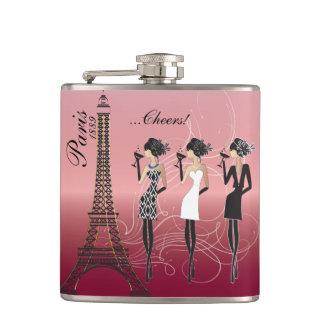 Celebración color de rosa hermosa de París Petaca