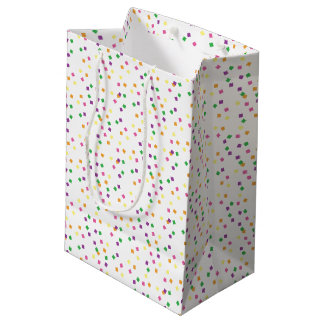 Celebración colorida del fiesta de los cuadrados bolsa de regalo mediana