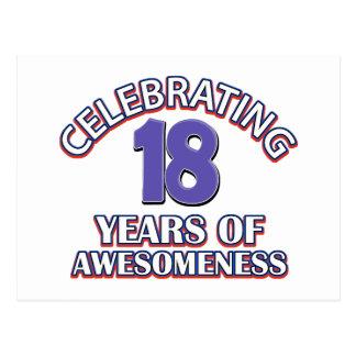 Celebración de 18 años de awesomeness tarjetas postales
