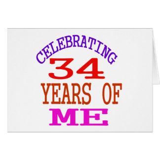 Celebración de 34 años de mí tarjeta de felicitación