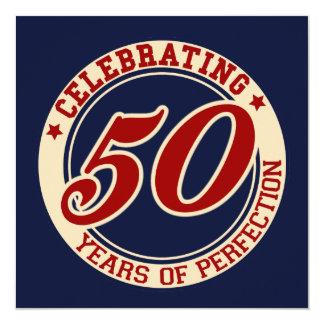 Celebración de 50 años de perfección invitación 13,3 cm x 13,3cm