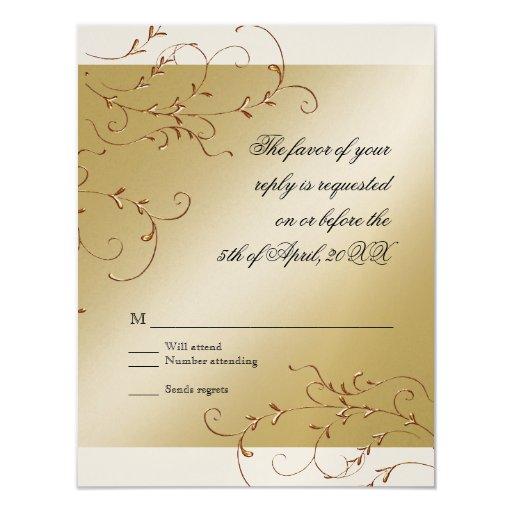 Celebración de 50 años, tarjeta de la respuesta de invitación 10,8 x 13,9 cm