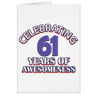 Celebración de 61 años tarjeta de felicitación
