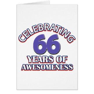 Celebración de 66 años tarjeta de felicitación