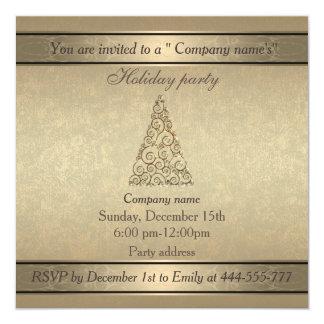 Celebración de días festivos corporativa del oro invitación 13,3 cm x 13,3cm