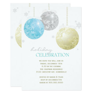 Celebración de días festivos de plata de las bolas invitación 12,7 x 17,8 cm