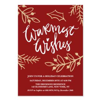 Celebración de días festivos más caliente roja de invitación 12,7 x 17,8 cm
