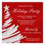 Celebración de días festivos roja y de plata del invitación personalizada