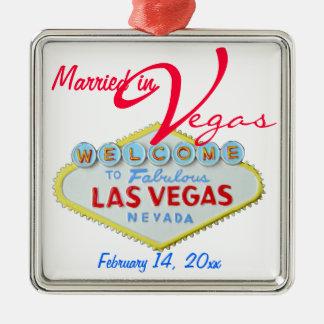 Celebración de la boda de Las Vegas Nevada Adorno Cuadrado Plateado