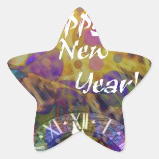 Celebración de la Feliz Año Nuevo Pegatina En Forma De Estrella