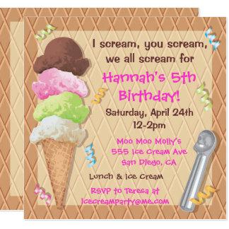 Celebración de la invitación del fiesta del helado