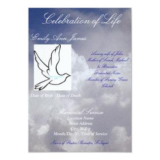 Celebración de la invitación/del programa fúnebres invitación 12,7 x 17,8 cm