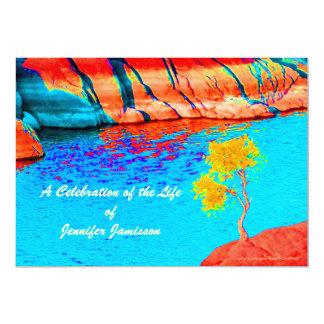 Celebración de la vida, solo árbol por el lago/las invitación 12,7 x 17,8 cm