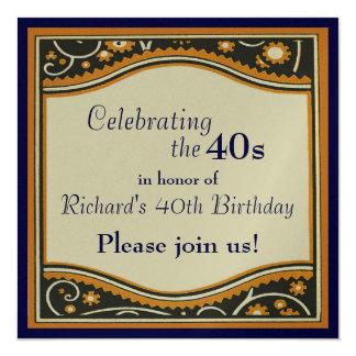 Celebración de los años 40 invitación 13,3 cm x 13,3cm