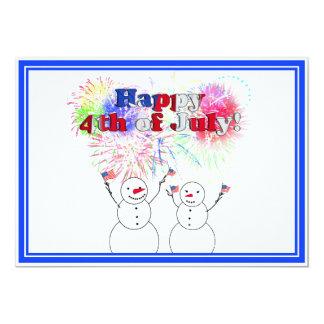 Celebración de los muñecos de nieve el 4 de julio invitación 12,7 x 17,8 cm