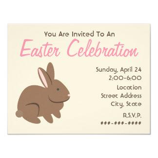 Celebración de Pascua - conejo de Brown Invitación 10,8 X 13,9 Cm