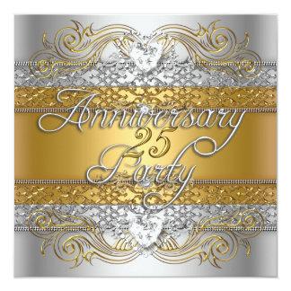 Celebración de plata del oro del 25to aniversario invitación 13,3 cm x 13,3cm