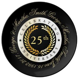 Celebración del 25to aniversario plato de porcelana