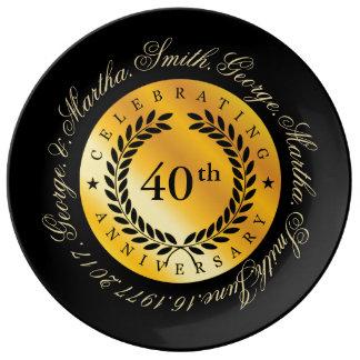 Celebración del 40.o aniversario plato de porcelana