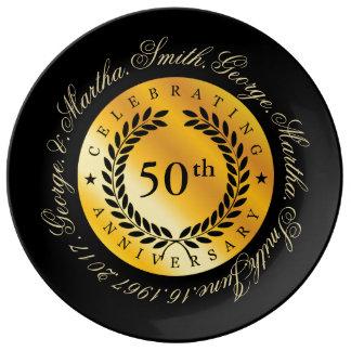 Celebración del 50.o aniversario plato de porcelana