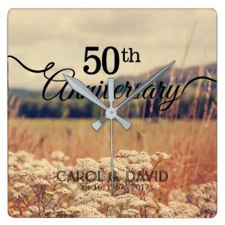 Celebración del 50.o aniversario reloj cuadrado