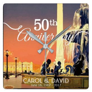 Celebración del 50.o aniversario. Vintage París Reloj Cuadrado