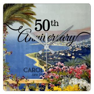 Celebración del 50.o aniversario. Vintage San Reloj Cuadrado