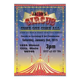 Celebración del circo invitación 12,7 x 17,8 cm