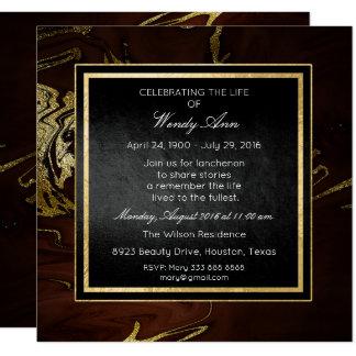 Celebración del mármol de oro vivo vivo de invitación 13,3 cm x 13,3cm