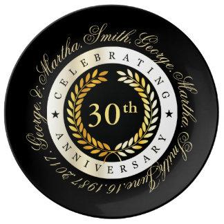 Celebración del trigésimo aniversario plato de porcelana