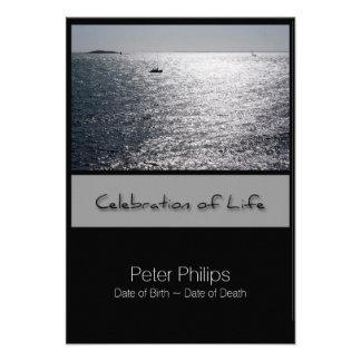 Celebración enmarcada paisaje marino de la invitación 8,9 x 12,7 cm